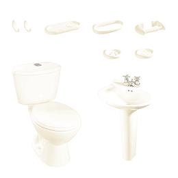 Combo laguna 4.8 bone con lavamanos sin pedestal con asiento - Corona