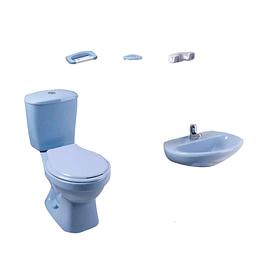 Combo laguna 4.8 azul cielo con lavamanos sin pedestal con asiento - Corona