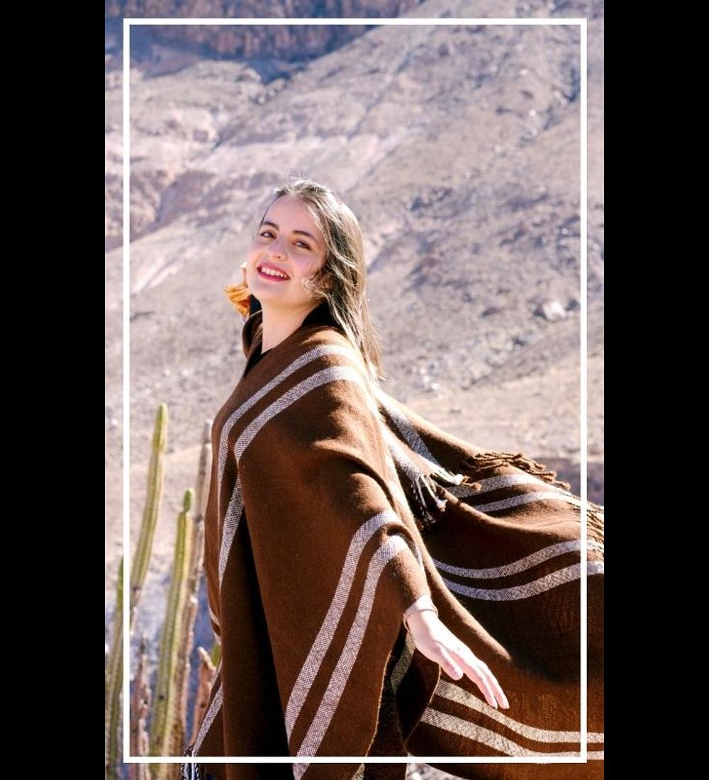 Alpaca wool poncho