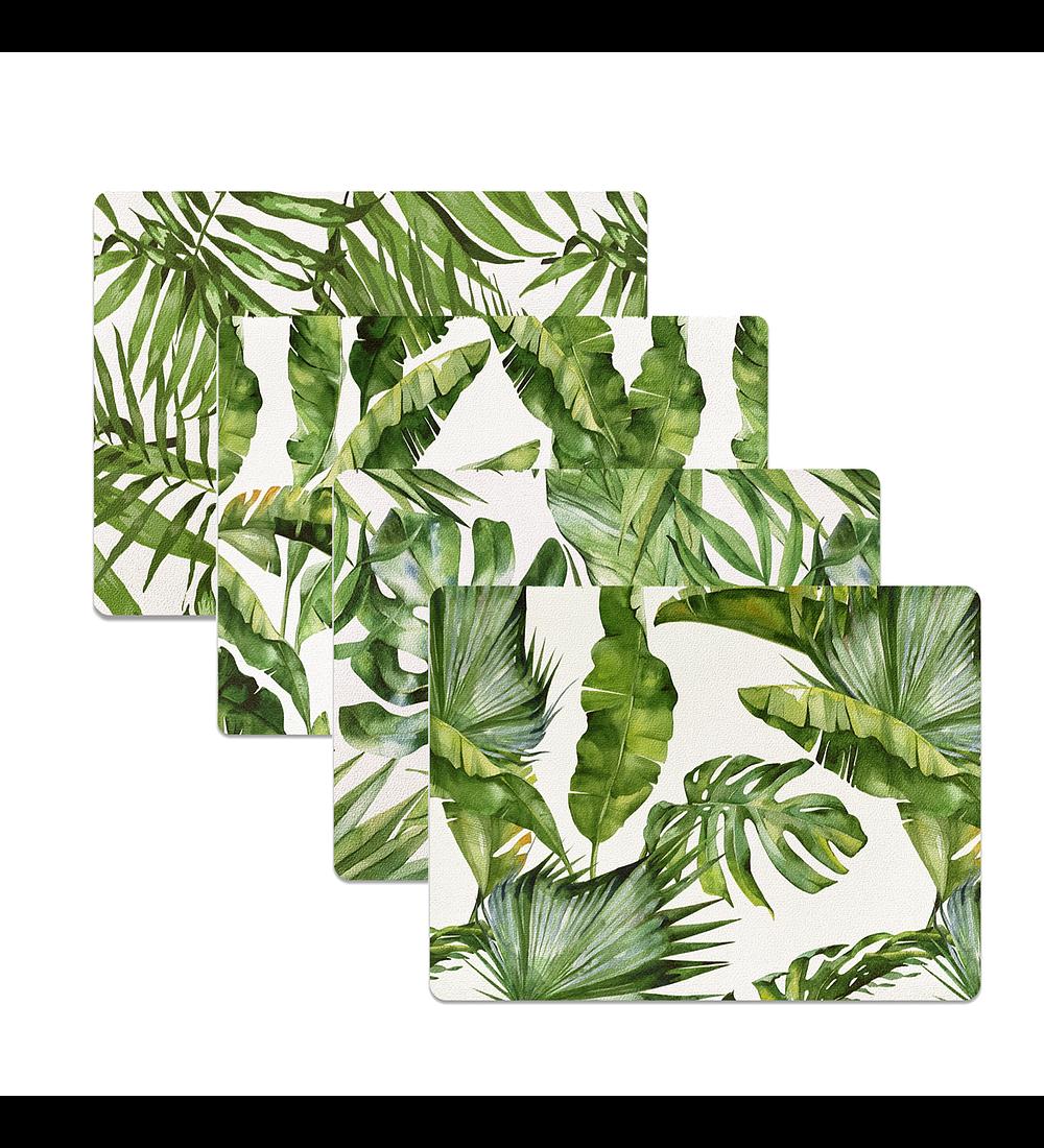 Set 4 Individuales Plantas Rectangular