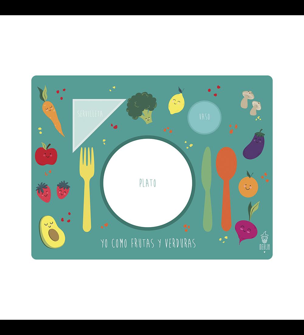 Set de 4 Individuales Frutas y Verduras Verde