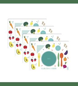 Set 4 Individuales Frutas y Verduras Blanco