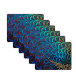 Set 6 Individuales Plumas Faisán Azul