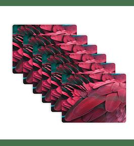 Set 6 Individuales Plumas Cacatúa Galah