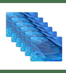 Set 6 Individuales Plumas Guacamayo Azul