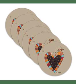 Set 6 Individuales Corazón Patagonia