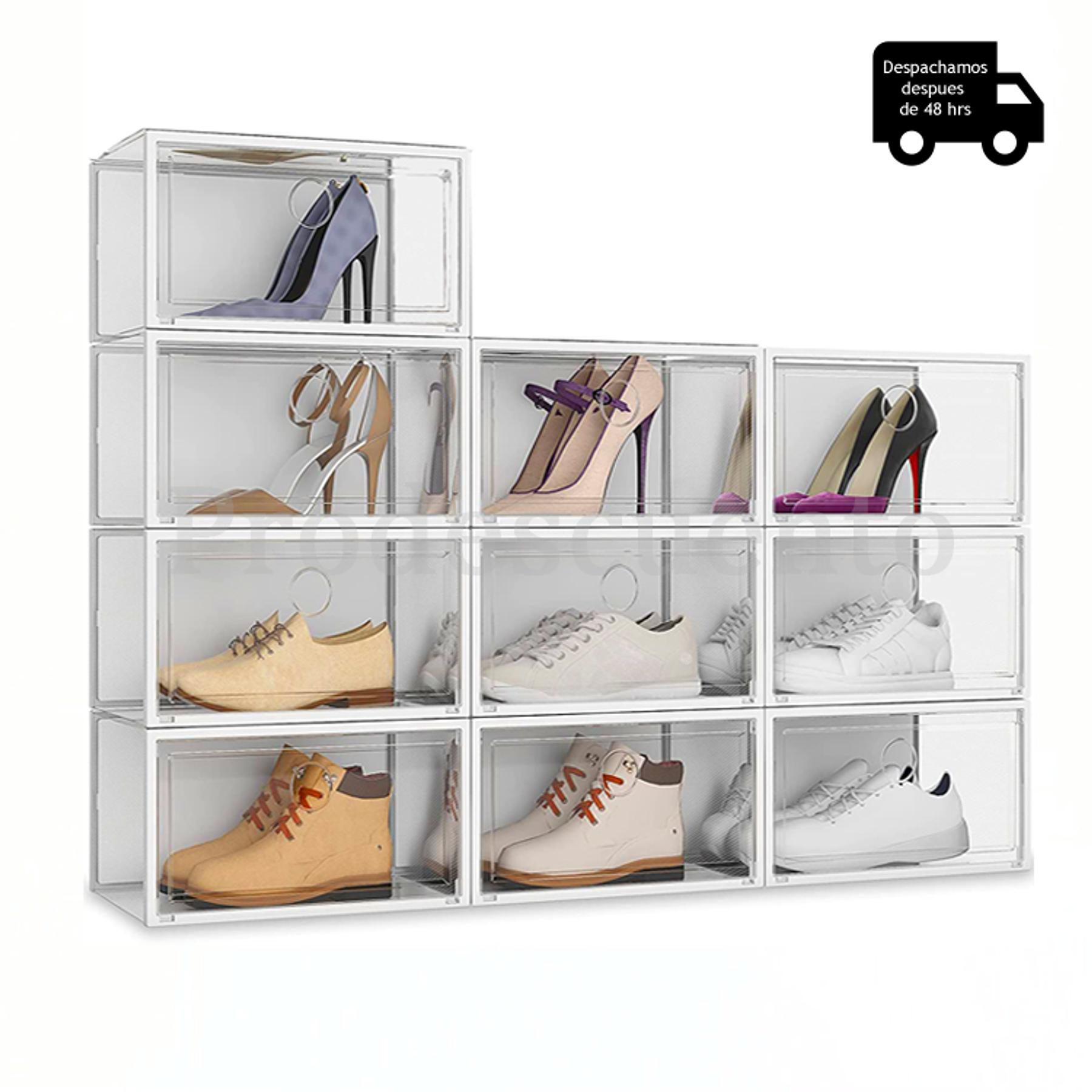 Pack De 10 Cajas De Almacenamiento Transparentes Para Zapatos