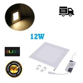 Foco Panel Embutido Cuadrado 12w Luz Calida
