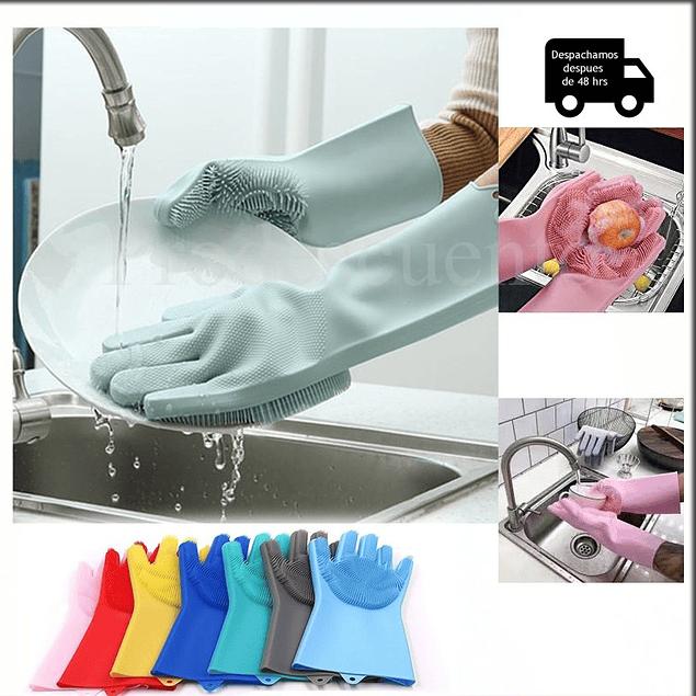 Set de 2 Guantes de Silicona Para Lavar Platos