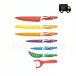 Set de Cuchillos Recubiertos en Cerámica + Pelador