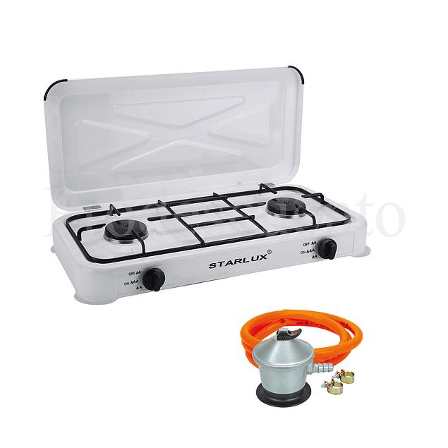 Cocina Encimera 2 Hornillas + Regulador + Manguera