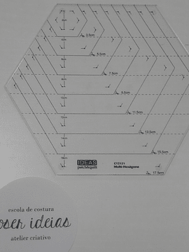 Régua Multi-hexágono (2cm a 17,5cm)
