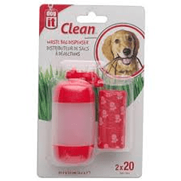 Dog it DISPENSADOR BOLSAS FECAS ROJO 2X20