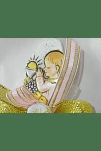 C17304 - Saco organza decorada com placa menina comunhão