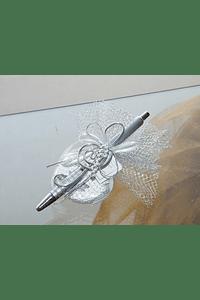 C6158 - Tule com caneta decorada com clave de sol