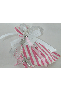 C17313 Saco riscos rosa decorado com dezena