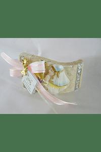 C17317 Pisa papeis curvo menina comunhão decorado