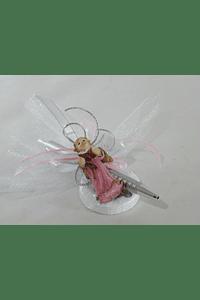 C17320 Caneta com tule decorada com anjo rosa