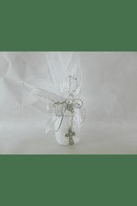 C17311 Vela cilíndrica em organza decorada com dezena