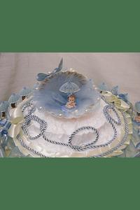 C6002.1 - AZUL - Estrutura de bolo batizado azul