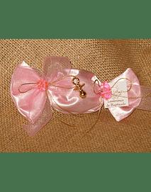C2144-Rebuçado de cetim rosa com chupeta