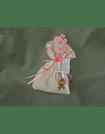C2177 - Saco em quadrilé com cegonha madeira