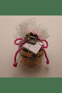 C1933 - Frasquinho de mel decorado com tule prata