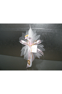 C2229 - Vela alta decorada com cegonha madeira