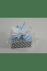 C18302 Caixa prata com terço decorada azul
