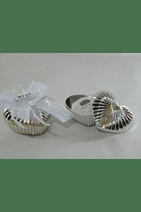 C18003 Caixa coração prata decorado
