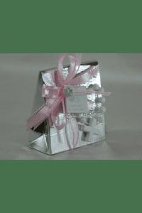 C18307 Saqueta prata decorada com dezena