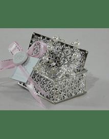 C18305 Caixa prata decorada com dezena perolas