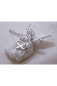 C15300 - Saco com sabonete decorado com dezena e fitas cinza