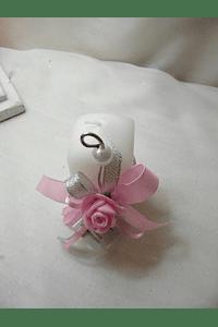 C15216 - Vela quadrada decorada em rosa com arame