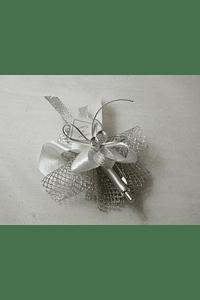 C15604 - Caneta decorada em prata com trouxa e sabonete