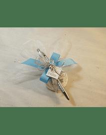 C15221 - Caneta decorada em azul com sabonete e chupeta
