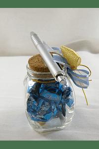 F15003 - Frasco de vidro decorado com laço e caneta