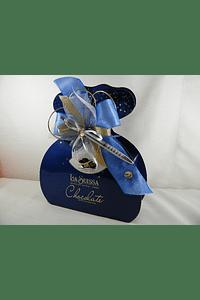 F15008 - Cartonagem La Suissa decorada em azul, dourado e prata com caneta
