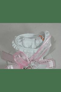 C18209 Carrinho bebe cerâmica decorado a cor de rosa