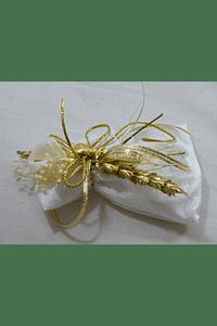 C3201 - Saco tecido decorado em dourado com espiga, cálice e flor.