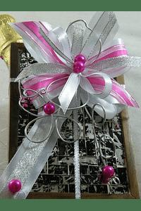 C15705 - Lembrança Padrinhos - Caixa de madeira com garrafa de vinho espumante decorada
