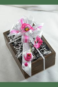 C15706 - Lembrança Padrinhos - Caixa madeira com ladrilhado decorada em rosa