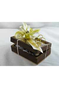 C15707 - Lembrança Padrinhos - Caixa madeira com ladrilhados decorada