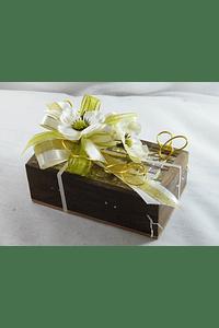 C15708 - Lembrança Padrinhos - Caixa com lindo ladrilhado decorada em verde e dourado