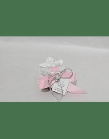 C18223 Frasquinho mel decorado rosa com busto de anjo