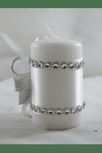 C15331 - Vela cilíndrica decorada em prata com ostensório