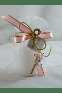 C15239 - Saco organza com vela redonda decorado em rosa
