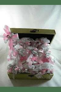 C6018 - Caixa madeira decorada em rosa para lembranças