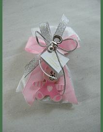 C15244 - Saco tecido acetinado com urso, decorado