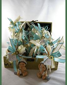 C6019 - Caixa madeira decorada em azul e dourado para lembranças